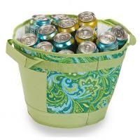 "2 Insulated Table Top Tub Coolers/Green Paisley print/10.5""H x 13""DIA/made of fabric/Has sturdy handles,leak proof liners and are fully insu...http://topshopusa.zhuncity.com/"