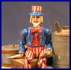 Handmade OOAK Vintage Styled  Patriotic Ball and Joint Hand Tied Uncle Sam Doll  starting bid $75.00