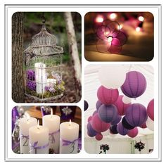 #purple #wedding #decoration the candles might also be cute center pieces? I also like the lanterns for filler on the ceiling. Like the candles in the bird house.