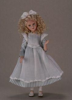 Cindy in Blue & White Stripped Silk with Pinafore Pat Melvin Dolls