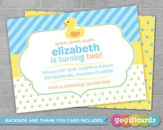 Rubber Duck Birthday Invitation Rubber Duck by GoGiftCards on Etsy