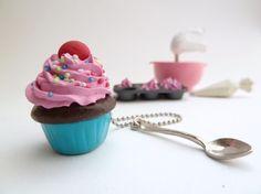 Katy Perry Cupcake Necklace polymer clay  fake cupcake by shimrita, $19.99