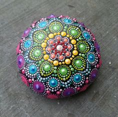 Painted mandala stone dotted rock handpainted meditation
