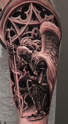35 Upper Arm Tattoos - Photos and Tattoos Armor Of God Tattoo, Angel Warrior Tattoo, Guardian Angel Tattoo, Warrior Tattoos, Angel Tattoo Men, Upper Arm Tattoos, Leg Tattoos, Body Art Tattoos, Sleeve Tattoos