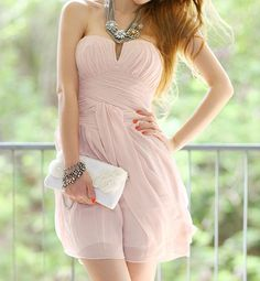 Pink Strapless Cocktail Dress. This is cute!