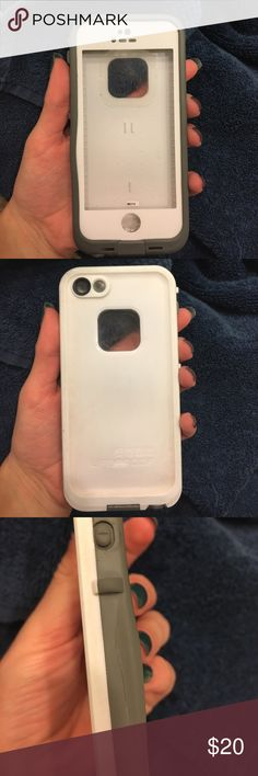 iPhone 5 white and gray life proof case Previously loved White and gray life proof case. In good condition, one tear on the side in gray plastic, still 99% water proof but would not recommend trusting completely under water. Still a great statement case. life proof Accessories Phone Cases