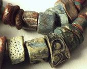 27 Artisan Stoneware Beads handmade Ceramic Clay Jewelry natural tribal rustic Stone blue turquoise gold red