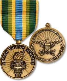 """The Armed Forces Service Medal (AFSM) is a military award of the United States military which was created on January 11, 1996 by President Bill Clinton under Executive Order 12985. The medal is a theater service award which is presented to those service members who engage in """"significant activity"""" for which no other campaign or service medal is authorized."""
