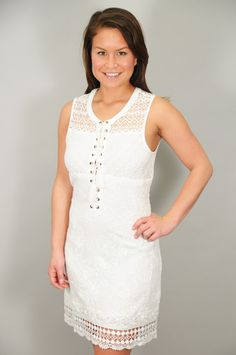 DRESSES > Dressy > Off White Lace Up Front Lace Dress