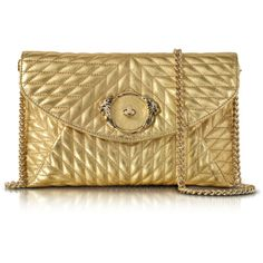 Roberto Cavalli Designer Handbags Star Metallic Quilted Nappa Leather... (44.985 RUB) ❤ liked on Polyvore featuring bags, handbags, gold, evening purses, star purse, quilted purses, special occasion handbags and hand bags