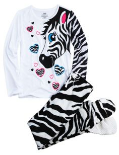 Zebra 2pc Set With Removable Footies   Girls Pajamas & Robes Clothes   Shop Justice
