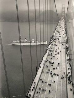 Golden Gate bridge - opening day, 1937.
