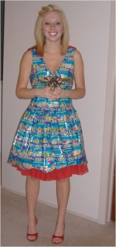 CapriSun Prom Dress. Upcycled Prom Dress. DIY Prom Dress. Designed by Carly Haiduk