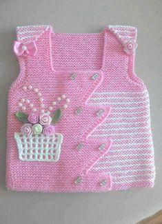 "HUZUR SOKAĞI (Yaşamaya Değer Hobiler) [ ""gorgeous baby vest: pink with a basket of flowers"", ""Nice idea for embellishments"" ] # # # # # # # # Kids Knitting Patterns, Knitting For Kids, Baby Patterns, Free Knitting, Knitting Projects, Crochet Patterns, Knit Baby Sweaters, Knitted Baby Clothes, Crochet Clothes"
