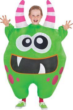 Inflatable Scareblown Green Monster Child Haloween Costume