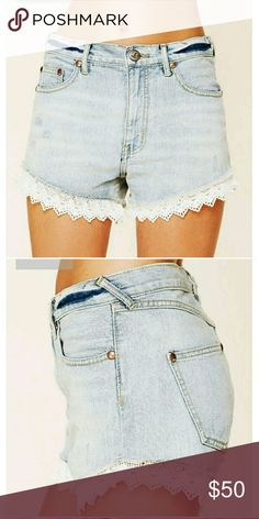 """Free People Lace Trim Shorts Free People Shorts  High Waisted Wash is called """"Daisy Wash"""" & its a medium wash  White Lace Trim along bottom EUC Only worn 3 times. No Flaws Free People Shorts Jean Shorts"""