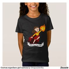 Custom superhero girl cartoon T-Shirt