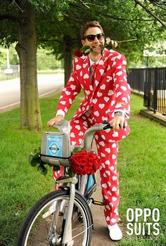 Red and white heart suit by Oppo Suits.