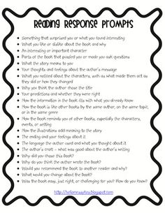 Reading Response Topics, Write About Your Reading - FREEBIE