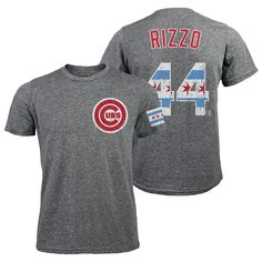 Anthony Rizzo Chicago Cubs Majestic Threads Tri-Blend Flag Name & Number T-Shirt - Gray