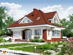 Dom w koniczynce 3 - zdjęcie Best Small House Designs, Simple House Design, Dream Home Design, My Dream Home, Three Bedroom House Plan, Attic Design, Bungalow House Design, Unique Architecture, Backyard Projects