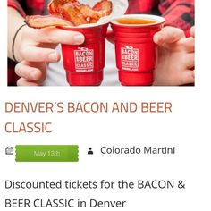 DENVER BEER & BACON FESTIVAL. May 13th. #DISCOUNT #ticket link on our website on profile or http://www.ColoradoMartinis.com   #food #alcohol #DENVER #BEER & #BACON #FESTIVAL #fun #event #Colorado #coloradolife #MileHigh #foodanddrink #drinks #party #beers #brewer  #denvercolorado