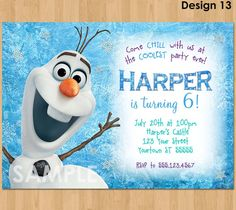 Olaf Invitation Frozen Olaf Birthday by KidsPartyPrintables