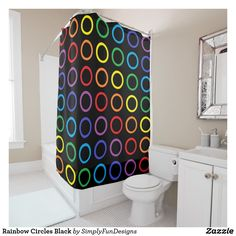 Rainbow Circles Black Shower Curtain