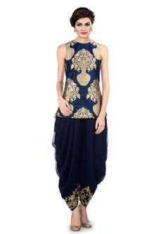 Blue Silk Dhoti Patiala Suit Dress Material