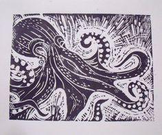 Octopus Lino Print Black on White Bold Graphics Monochrome modern art original Linocut Prints, Art Prints, Octopus Print, Linoprint, Nature Journal, Sgraffito, Texture Art, Sea Creatures, Printmaking