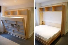[QUESTION] How do you build a DIY murphy bed? What is the process to build a murphy bed? [ANSWER] The Murphy bed is a cross between a cabinet and a bed. It is commonly referred to as a pull-down bed, wall bed or fold-down bed. Murphy Bed Kits, Build A Murphy Bed, Murphy Bed Desk, Murphy Bed Plans, Murphy Bunk Beds, Murphy Bed Hardware, Fold Down Beds, Horizontal Murphy Bed, Bed Steps