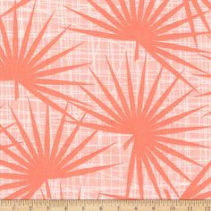 Kaufman Palm Canyon Ferns Coral from @fabricdotcom  Designed by Violet Craft for Robert Kaufman, this cotton print fabric collection features abstract geometrical designs that will add a retro/mod mood to your creative projects. This fabric is perfect for apparel, quilting, and home decor accents. Colors include shades of light coral and white.