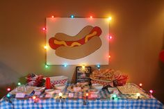 hotdog bar – love this! But I'd want to do something road kill themed becau… hotdog bar – love this! But I'd want to do something road kill themed because of the road kill episode. Maybe pulled pork? Redneck Birthday, Redneck Party, Bbq Party, Xmas Party, Party Time, Birthday Bash, Holiday Parties, Birthday Ideas, Trailer Trash Party