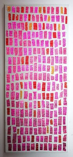 chocolate wrappers sewn on canvas