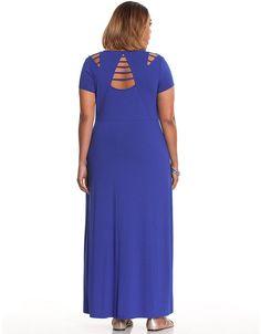 e2c9a05db3c NEW LANE BRYANT WOMENS PLUS SIZE LATTICE DETAIL BLUE KNIT MAXI DRESS sz 14    16  LaneBryant  Maxi