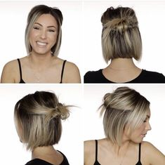 Medium Bob Hairstyles, Messy Hairstyles, Pretty Hairstyles, Messy Bun For Short Hair, Medium Hair Styles, Short Hair Styles, A Line Haircut, Hair Inspiration, Hair Cuts