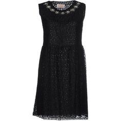 Kaos Jeans Short Dress (305 RON) ❤ liked on Polyvore featuring dresses, black, sleeveless beaded dress, no sleeve dress, sleeveless dress and beaded dress