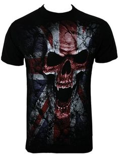 As a menacing skull rips his way through the Union Jack, he means war in this awesome design from Spiral. Perfect for any patriotic man, this gothic gem is sure to make an impact and will make a great addition to your wardrobe!