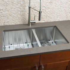 Hahn® Chef Series Handmade 60/40 Double Bowl Sink