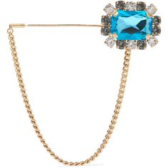 Dolce & Gabbana Gold-tone crystal brooch ($291) ❤ liked on Polyvore featuring jewelry, brooches, blue, gold tone jewelry, crystal brooch, blue crystal jewelry, dolce gabbana jewelry and clear crystal jewelry