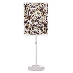Funky Vintage Retro Circles in Brown & White Desk Lamp