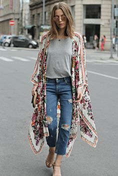 Women Long Chiffon Kimono Knits Cape Cardigan Casual Shirts Long Beach Cover Up Tops - How To Be Trendy Cape Cardigan, Cardigan Casual, Chiffon Cardigan, Chiffon Kimono, Sheer Chiffon, Chiffon Blouses, Print Chiffon, Cardigan Outfits, Long Cardigan