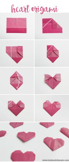 Would you like to decorate your Valentine's Day gift with a beautiful DIY heart origami? No problem, here you will find great instructions Origami heart fold for your DIY gift packaging Nachtigall und Spatz nachtigallundspatz Valentinstag Gesch Diy Origami, How To Make Origami, Origami Folding, Origami Tutorial, Origami Paper, Heart Origami, Origami Instructions, Origami Gifts, Origami Lamp