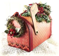 Hello there. Today I thought I would share one of the projects I made for Summer CHA using the new Layered Poinsettia, and Classic Petal die templates from Spellbinders. It started off as a plain paper mache mailbox I. Merry Christmas To All, Stampin Up Christmas, Christmas Time, Christmas Ideas, Diy Mailbox, Mailbox Ideas, Handmade Crafts, Diy Crafts, Candy Flowers