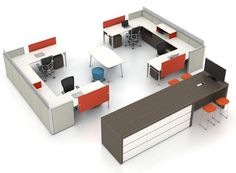 4 person workstation group w/ table for quick collaboration – Cool Office Space Open Space Office, Bureau Open Space, Open Office Design, Industrial Office Space, Design Studio Office, Design Desk, Small Office, Floor Design, Modern Industrial
