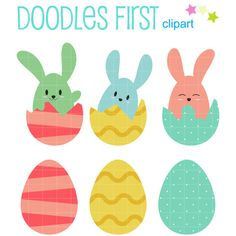 This clipart set includes the following elements. 3 x Egg Bunnies 3 x Easter Eggs Each clipart illustration is included separately as a high resolution PNG file with a transparent background, a JPG with a white background and as as editable SVG file. Each object is provided at