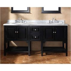 "72"" Double sink vanity with open shelves"