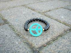 Black Bead Bracelet w/ Turquoise Peace Sign