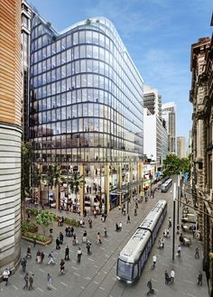 Grimshaw Unveils Sustainable Glass Office Building in the Heart of Sydney,Street View with Tram Cars. Image Courtesy of Grimshaw Architects and Crone Partners