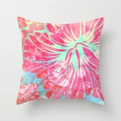 Blue Water Hibiscus Snowfall Throw Pillow by Vikki Salmela - $20.00